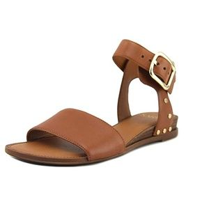 Franco Sarto Brown Leather Ankle Strap Sandals